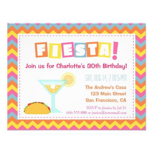 Partido mexicano colorido do adulto da festa de convites personalizado