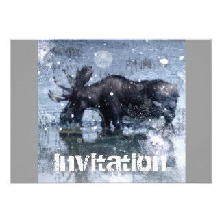 Partido nevado do inverno dos animais selvagens rú convite personalizado