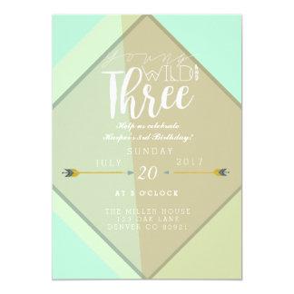 Partido novo selvagem de Boho de três | de Convite 12.7 X 17.78cm