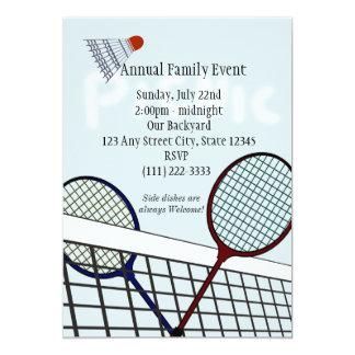 Partido/piquenique do Badminton Convite 12.7 X 17.78cm