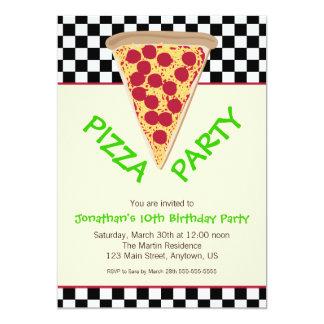 Partido preto & branco da pizza do tabuleiro de convites