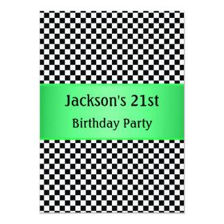 Partido preto & branco verde-claro da verificação convite 12.7 x 17.78cm