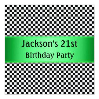 Partido preto & branco verde-claro da verificação convite quadrado 13.35 x 13.35cm
