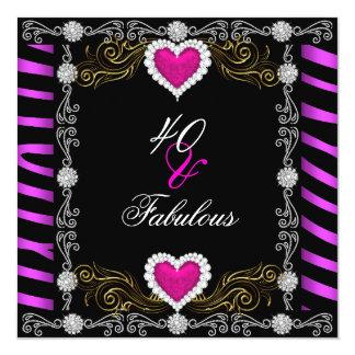 Partido preto cor-de-rosa da prata 40th 40 da convite quadrado 13.35 x 13.35cm