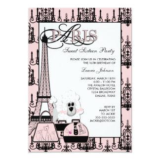 Partido preto cor-de-rosa do doce 16 do candelabro convite 12.7 x 17.78cm