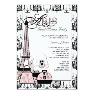 Partido preto cor-de-rosa do doce dezesseis do convite 12.7 x 17.78cm