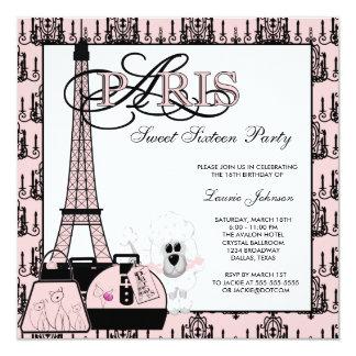 Partido preto cor-de-rosa do doce dezesseis do convite quadrado 13.35 x 13.35cm