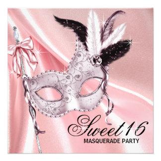 Partido preto cor-de-rosa do mascarada do doce 16 convite personalizado