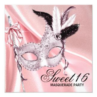 Partido preto cor-de-rosa do mascarada do doce 16 convite quadrado 13.35 x 13.35cm