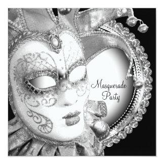 Partido preto e branco do mascarada convite quadrado 13.35 x 13.35cm