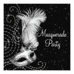 Partido preto e branco elegante do mascarada convites personalizados