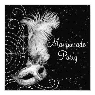Partido preto e branco elegante do mascarada convite quadrado 13.35 x 13.35cm