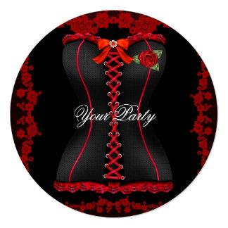 Partido preto vermelho fabuloso do espartilho do convite quadrado 13.35 x 13.35cm