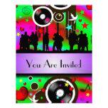 Partido retro colorido da música do divertimento convite