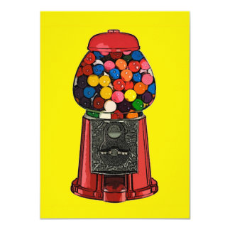 Partido retro da máquina de Gumball Convite 11.30 X 15.87cm