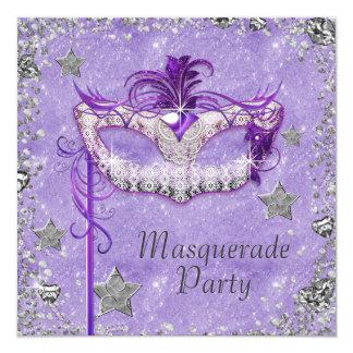 Partido roxo de prata elegante do mascarada convite quadrado 13.35 x 13.35cm
