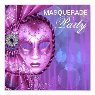 Partido roxo do mascarada convite quadrado 13.35 x 13.35cm