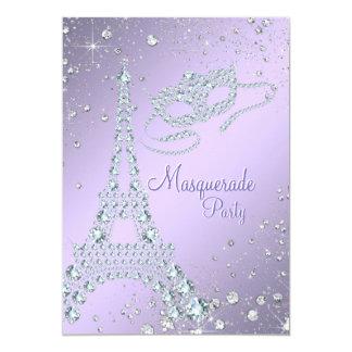 Partido roxo do mascarada de Paris do Lilac Convite 12.7 X 17.78cm