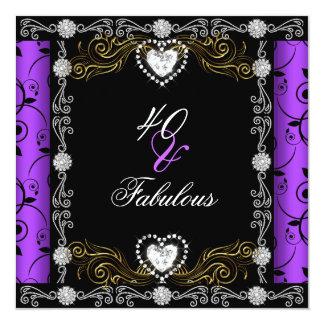 Partido roxo floral do preto 40th 40 do damasco convite quadrado 13.35 x 13.35cm