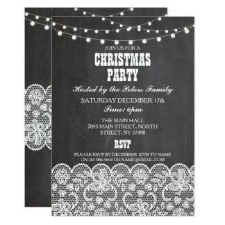 Partido rústico do dia do comensal de Natal do giz Convite 12.7 X 17.78cm