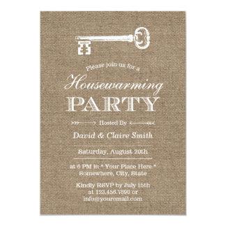 Partido rústico do Housewarming da chave da Convite 12.7 X 17.78cm