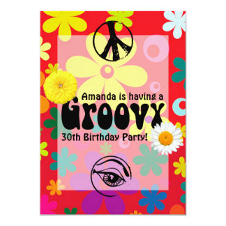 Partido temático personalizado do Hippie Convite 12.7 X 17.78cm