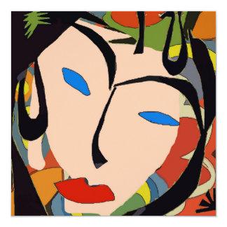 Partido tropical abstrato da cara convite quadrado 13.35 x 13.35cm