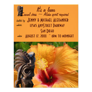 Partido tropical de Tiki Luau Convite Personalizados