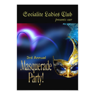 Partido Venetian do traje de mascarada do azul & Convite 12.7 X 17.78cm