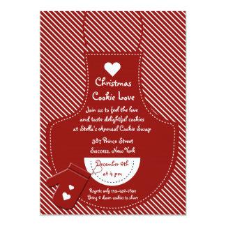 Partido vermelho da troca do biscoito do avental convite 12.7 x 17.78cm