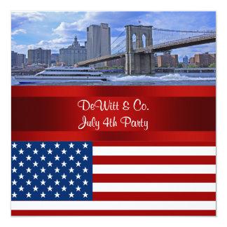 Partido vermelho do azul de W da bandeira dos EUA Convite Quadrado 13.35 X 13.35cm