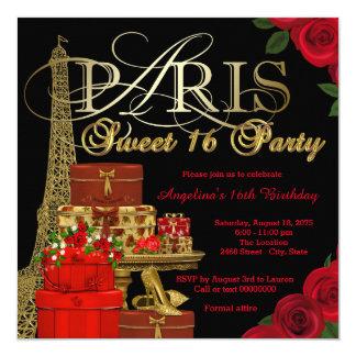 Partido vermelho do doce 16 de Paris Convite Quadrado 13.35 X 13.35cm