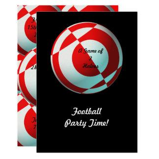 Partido vermelho do futebol (adicione a foto, convite 12.7 x 17.78cm