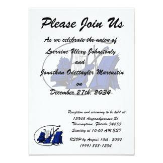 partitura azul design.png do violino do lyre do convite 12.7 x 17.78cm