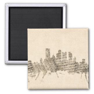 Partitura Citysc da skyline de Pittsburgh Ímã Quadrado