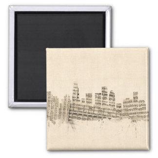 Partitura Citysca da skyline de Los Angeles Ímã Quadrado