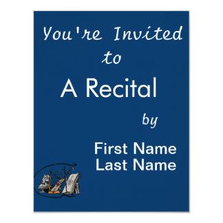partitura design.png do violino do lyre do busto convite 10.79 x 13.97cm