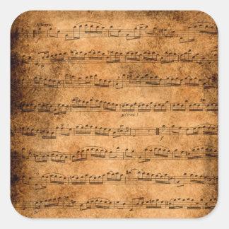 Partitura do vintage adesivo quadrado