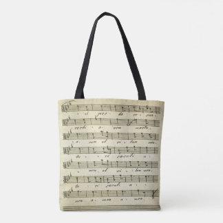Partitura do vintage, contagem musical antiga 1810 bolsa tote