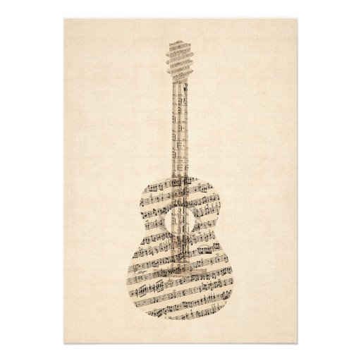 Partitura velha da guitarra acústica convite