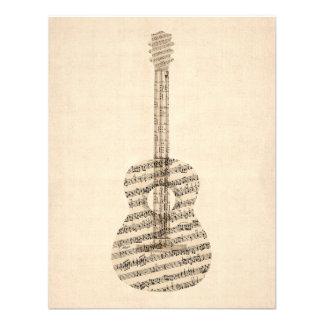Partitura velha da guitarra acústica convite personalizados