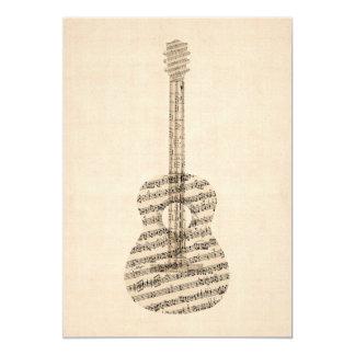 Partitura velha da guitarra acústica convite 12.7 x 17.78cm