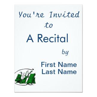 partitura verde design.png do violino do lyre do convite 10.79 x 13.97cm