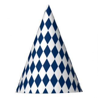 Party o chapéu com teste padrão azul e branco do