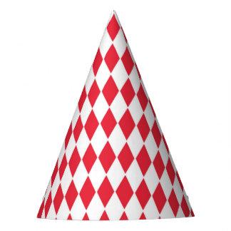 Party o chapéu com teste padrão vermelho e branco