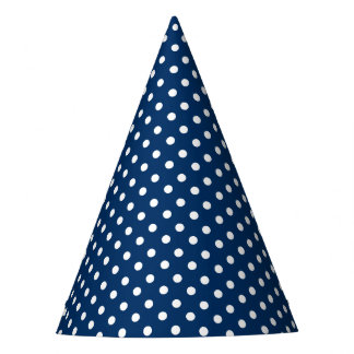 Party o chapéu com um teste padrão de pontos azul