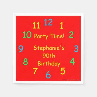 Party os guardanapo de papel do tempo, aniversário