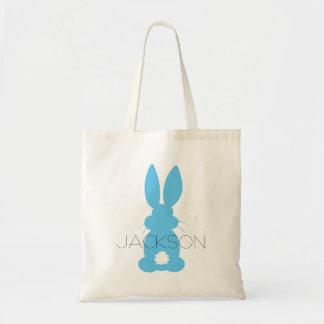 Páscoa azul da silhueta do coelho personalizada bolsa tote