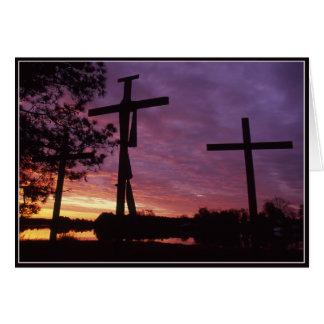 Páscoa - cartão de madeira de três cruzes