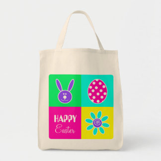 Páscoa colorida sacola tote de mercado
